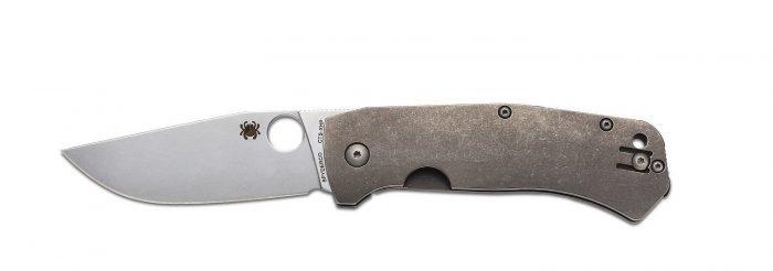 Spyderco C186TIP SLYSZ Bowie Folding Knife, Titanium, 3.42-Inch